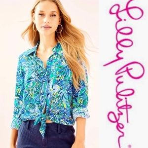 LILLY PULITZER SEA VIEW RAYON VOILE BUTTON-DOWN